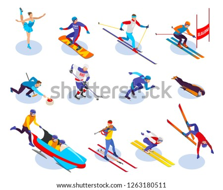 winter sports isometric icons