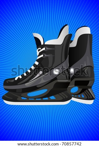 Winter Sports. Skates to play hockey on an abstract blue background