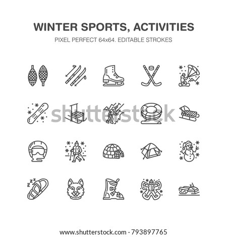 Winter sports vector flat line icons. Outdoor activities equipment snowboard, hockey, sled, skates, snow tubing, ice kiting. Linear pictogram with editable stroke for ski resort. Pixel perfect 64x64.