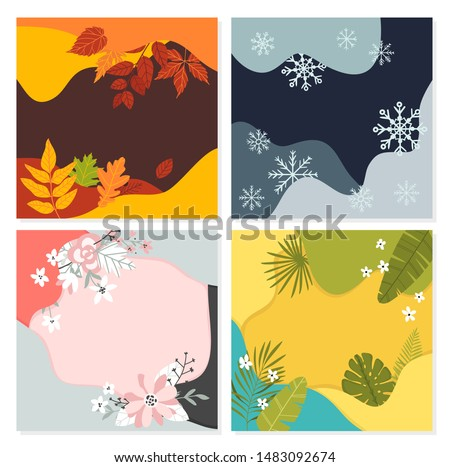 Winter Spring Autumn Summer themed banner for social media, blog or online shop. Sale banners . Creative illustration for poster, web, landing, page, cover, ad, greeting, card,  promotion