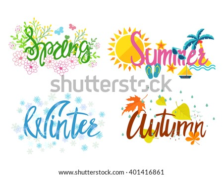 Winter, spring, summer, autumn. Four seasons  lettering isolated on  white background