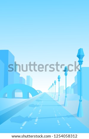 winter street cityscape view