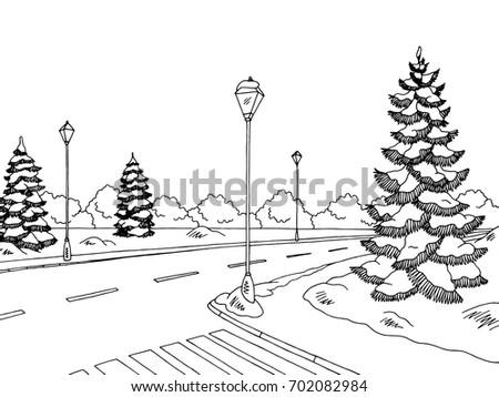 winter street graphic black