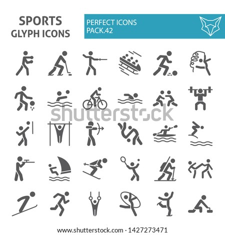 Winter & summer sports glyph icon set, sport symbols collection, vector sketches, logo illustrations, sportsman signs solid pictograms package isolated on white background, eps 10.