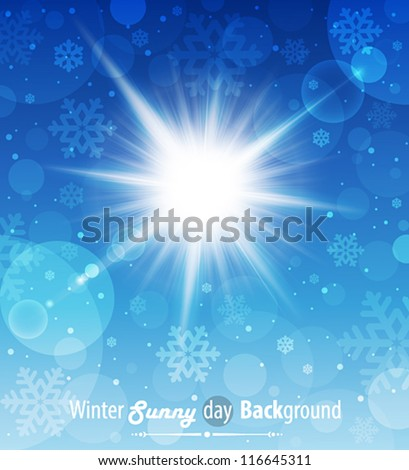 Winter sunny day background. Vector illustration. - stock vector