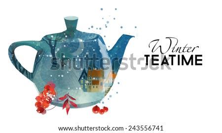 winter tea time watercolor