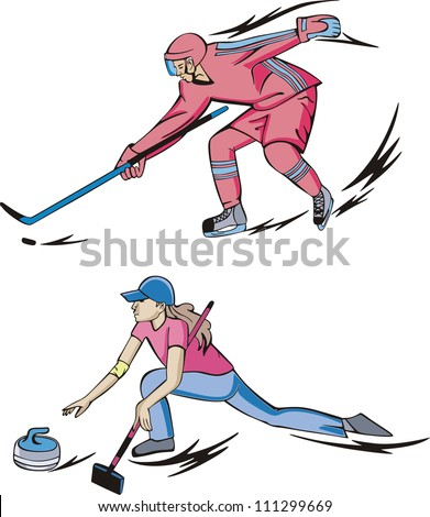 Winter team sports: Ice hockey and Curling. Set of color vector illustrations.