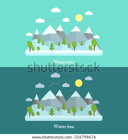 Winter time background, flat. Holiday
