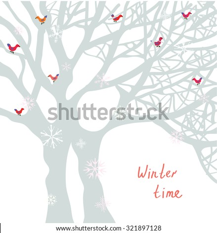 winter time christmas card with