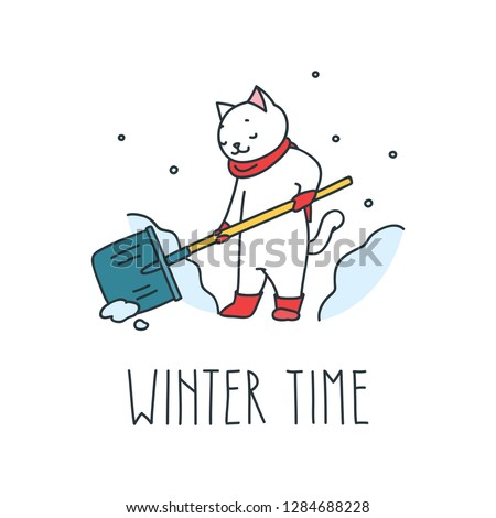Winter time. Doodle illustration of cute cat removing snow with snow shovel in winter. Vector 8 EPS.
