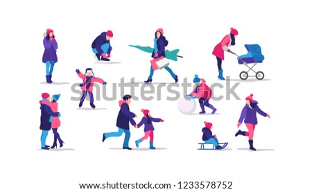 Winter time. Happy people walking and performing outdoor activities. Vector illustration.