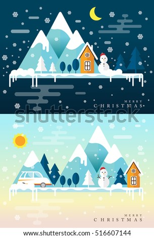 winter time snow mountains