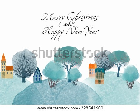Winter time. Watercolor vector background