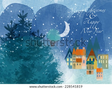 winter time watercolor vector