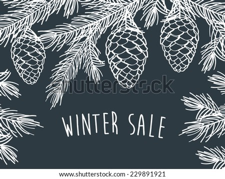 Winter time Winter background with pine branches with cones Hand drawing with chalk on a blackboard Sketch design elements Christmas New Year Vector illustration