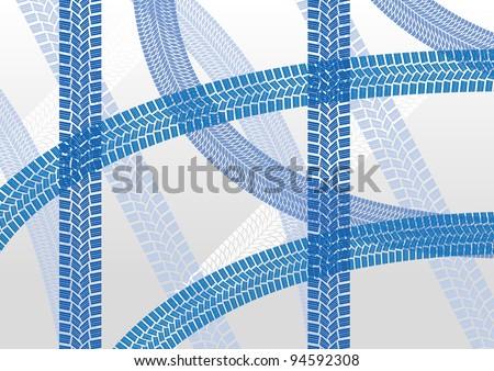 Winter tire tracks pattern illustration background vector