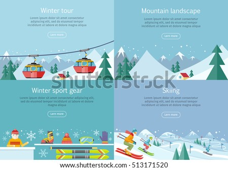 Winter tour. Mountain landscape. Winter sport gear. Skiing banners set. Winter recreational conceptual web banners. Funicular railway, landscape, skiing equipment, skier competition. Ski lift. Vector