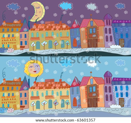 Winter town banner at day and night