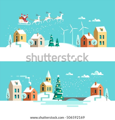 winter town snowy street urban