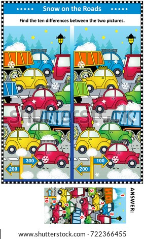 Winter traffic jam picture puzzle: Find the ten differences between the two pictures of cars and trucks on the road. Answer included.  #722366455