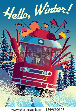 winter travel poster with