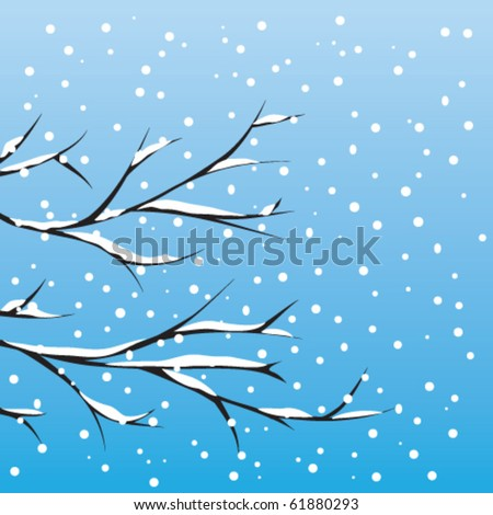 winter tree and snow corn on a