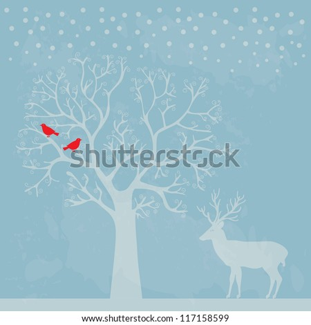 Winter tree with birds vector illustration