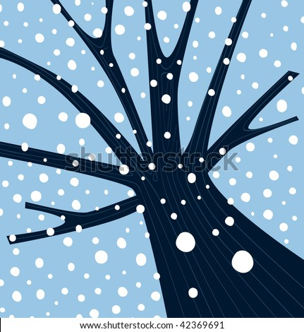 Winter tree with falling snow. Tree with winter weather atmosphere. Vector Illustration.