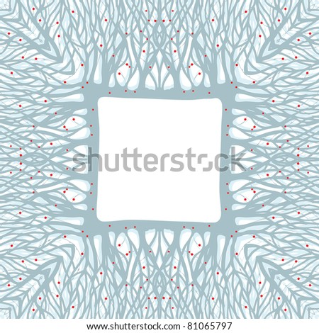 Winter tree with red apples frame, vector background