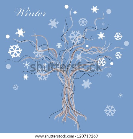 Winter tree with snow leaves