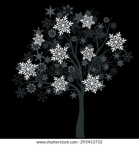 winter tree with snowflakes on
