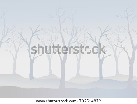 Winter Trees Background. Winter landscape with trees, fog. Cloudy Foggy Day.