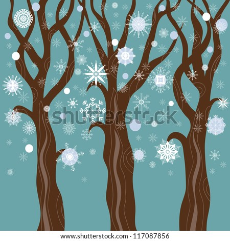 Winter trees, snowfall. Vector illustration