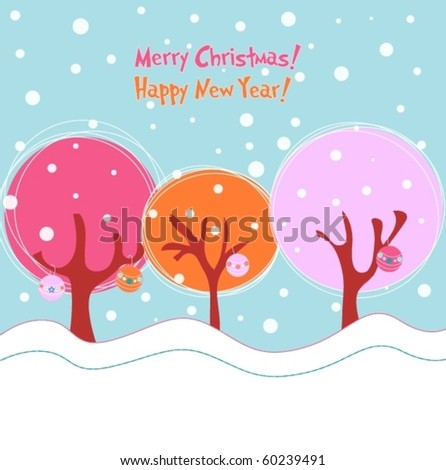 Winter trees with ornaments, Christmas illustration
