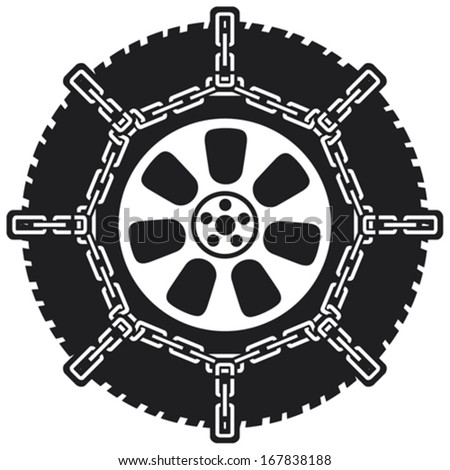 winter tyre with snow chains