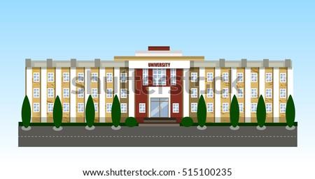 Winter University building vector illustration
