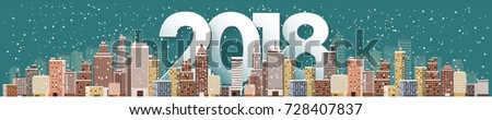 Winter urban landscape. City with snow. Christmas and new year. Cityscape. Buildings.2018.Vector illustration.