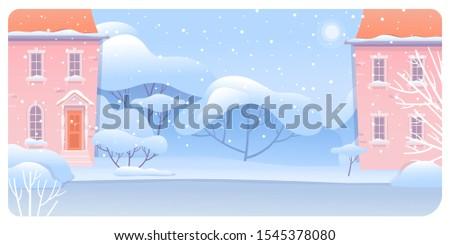 winter urban landscape flat