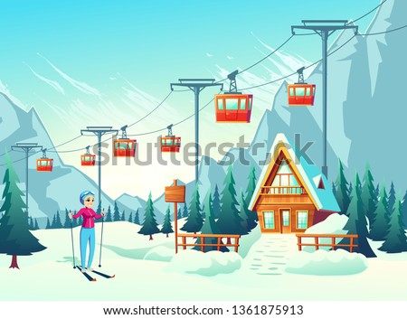 Winter vacation, active weekend leisure in mountain resort cartoon vector concept with happy smiling female tourist, woman skiing in snowy slope with cableway and small hotel or chalet illustration