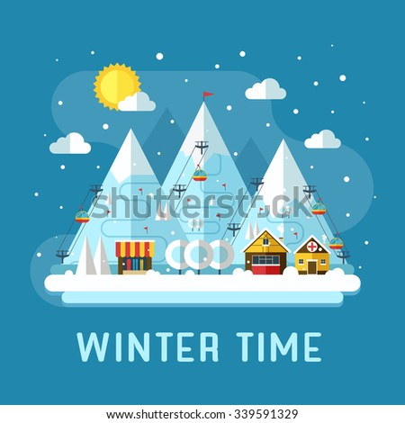 Winter vacation flat landscape. Ski mountain resort concept scene. Winter time landscape in flat design with funiculars, mountains, medicine tent, house and snow. Snow time landscape.
