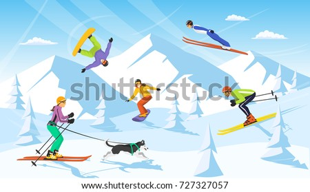 winter vacation ski resort scene. man and woman cross country skiing, jumping, snowboarding