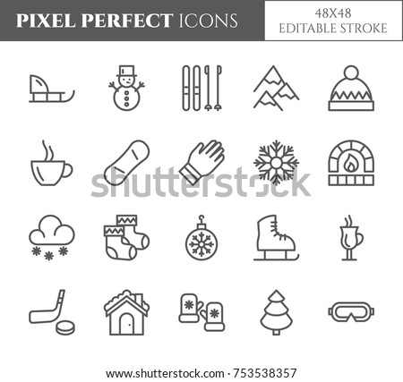 Winter vacation theme pixel perfect thin line icons. Set of elements of snow, mountains, skis, skates, sleigh, tree, clothes, hot drinks, other winter holidays related pictograms. Vector illustration.
