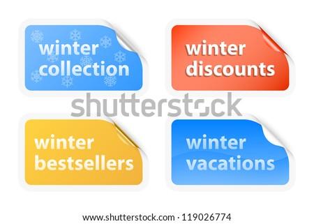 Winter vacations labels. Vector illustration