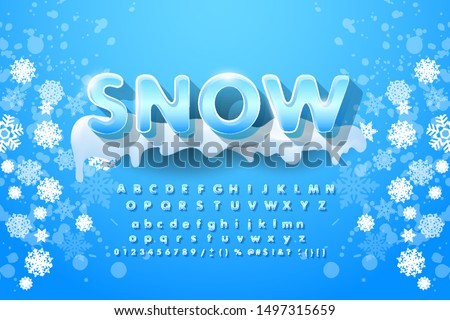Winter vector alphabet with snow. Letter abc, ice cold font, season frost font, typography or typeset. Winter alphabet vector illustration Stockfoto ©