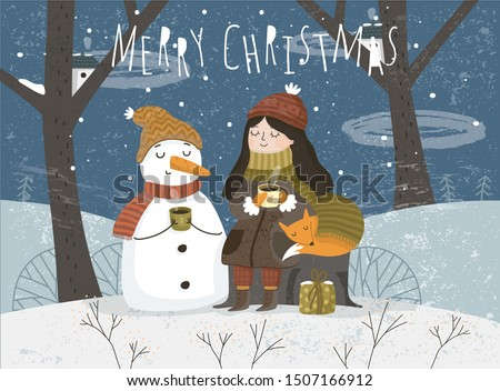 Winter. Vector illustration of cute greeting card for merry christmas and happy new year. Freehand drawing of a girl a snow maiden, a snowman and an animal fox on nature in a fairy forest.