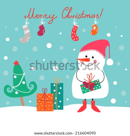 Winter vector illustration with snowman, gifts, socks and tree. Perfect for Christmas cards.
