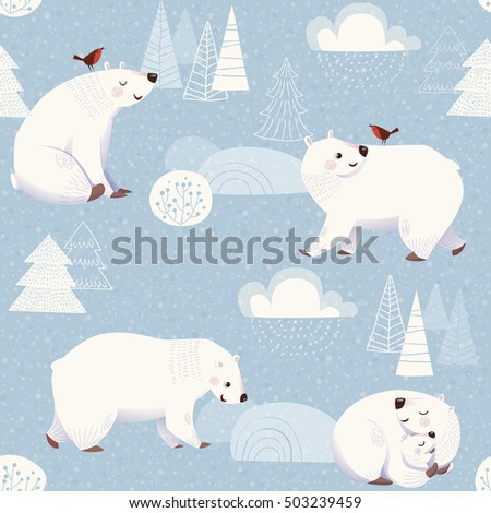 winter vector seamless pattern