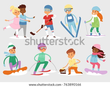 Winter vector sport kids games cute cartoon children fun cold child girls and boys sportsmen wintertime kid childhood happy illustration isolated vacation people holiday activity ski, sky, snowboard