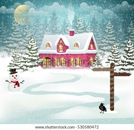 winter village background with
