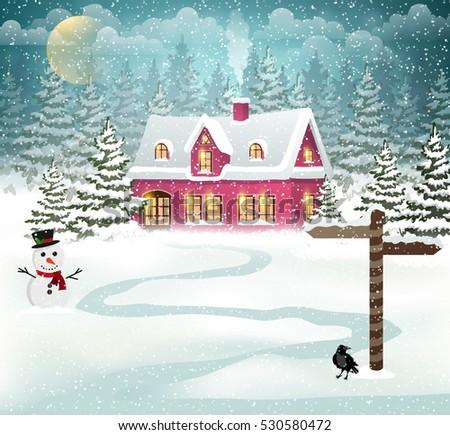 winter village background with